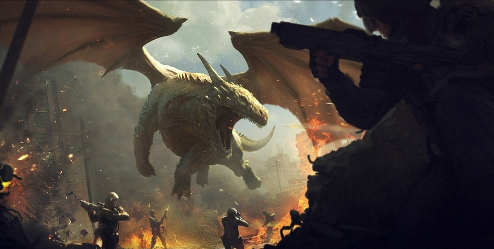 Dragon vs soldiers